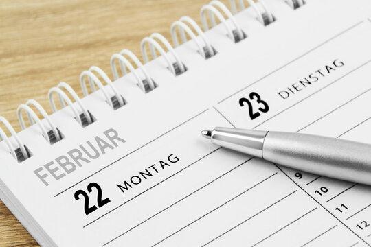 Kalender 22. Februar 2021 Montag