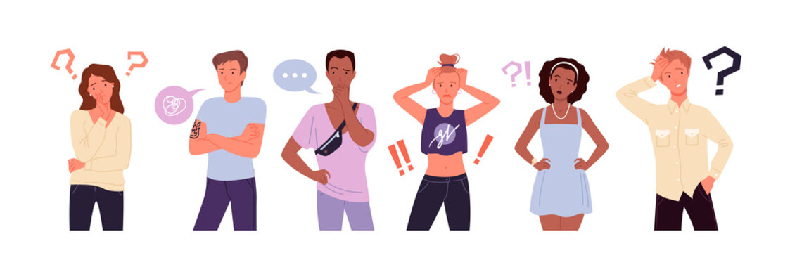Confused people think in doubt set, showing gestures of stress and problems, questions