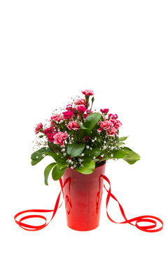 beautiful bouquet of carnations and roses isolated