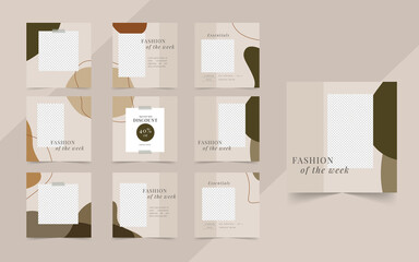 Wall Mural - Simple social media square post banner for fashion sale promotion template