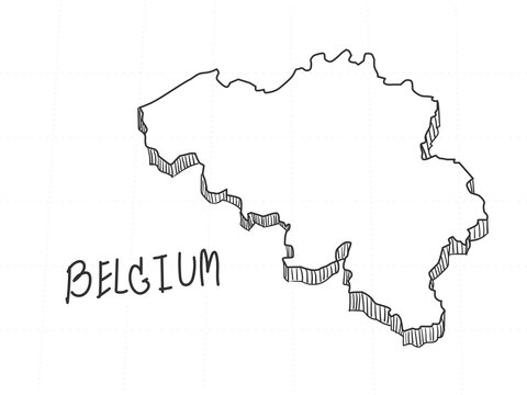 Hand Drawn of Belgium 3D Map on White Background.
