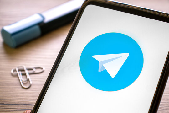 telegram logo on the blue screen of smartphone. Messaging app on your phone. Italy, Verona, 17-02-21