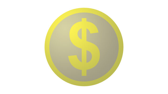 Dollar symbol on flat cartoon yellow coin isolated on white background. Gold dollar icon on 2D flat illustration.