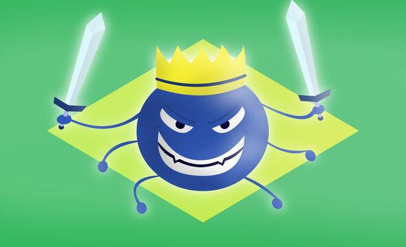 covid 19 mutation representation with brazil flag on background. 2d flat illustration of cartoon monster for brazilian variant corona virus.