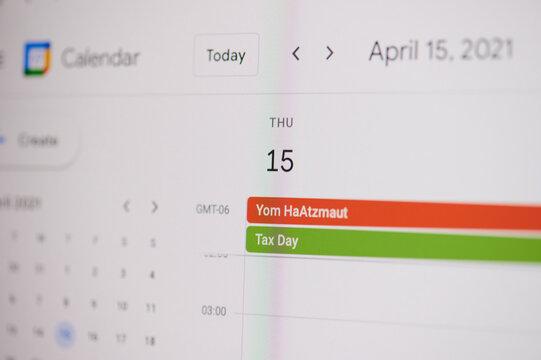 Yom HaAtzmaut 15 of april on google calendar