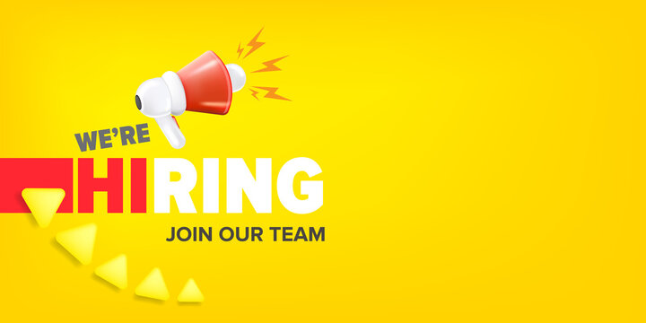 We are hiring advertising horizontal banner with a megaphone on yellow background. Banner with a megaphone for promoting your announcement