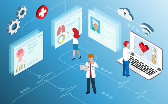 Doctor diagnosis of elderly patient using isometric medical records from online clouds computing data center. Idea for research and development innovation in medical and healthcare concept. Isometric.