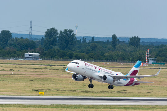 DUESSELDORF, NRW, GERMANY - JUNE 18, 2019: Eurowing plane takes off from Dusseldorf International Airport