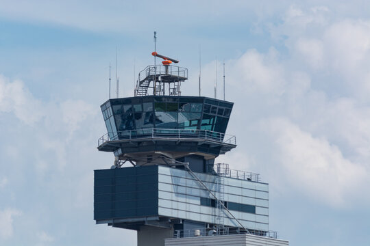 DUESSELDORF, NRW, GERMANY - JUNE 18, 2019: Air traffic control tower at Düsseldorf Airport.