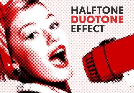 Halftone Duotone Photo Effect Mockup
