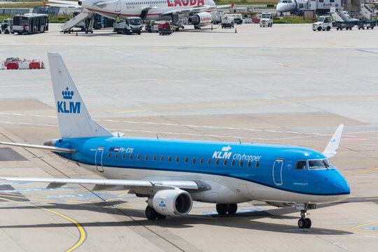 DUESSELDORF, NRW, GERMANY - JUNE 18, 2019: Plane of the airline KLM on the airport Duesseldorf