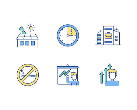 Improving working conditions RGB color icons set. Employing older workers. Creating better workplace. Balanced diet. Reaching career goals. Recreational green space. Isolated vector illustrations