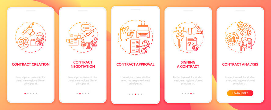 Contract lifecycle steps onboarding mobile app page screen with concepts. Contract improvement walkthrough 5 steps graphic instructions. UI vector template with RGB color illustrations
