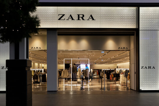 Zara store in the mall. Exterior. Moscow, Russia, 02-17-2021.