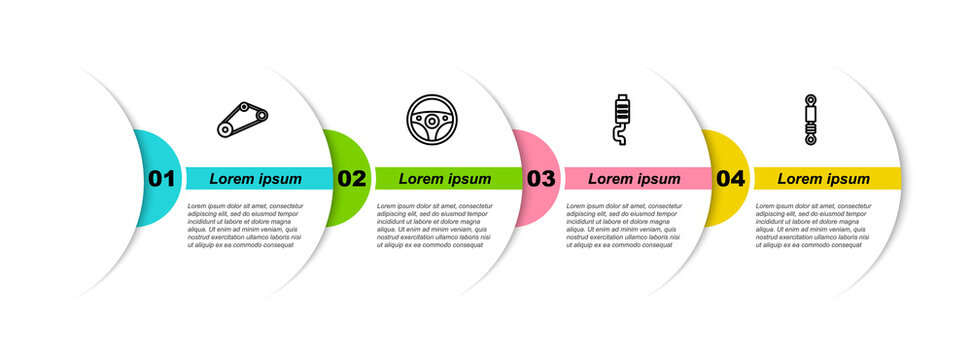 Set line Timing belt kit, Steering wheel, Car muffler and Shock absorber. Business infographic template. Vector.