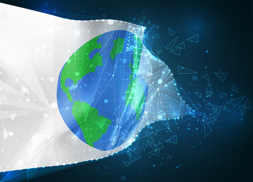 Earth protection vector flag, virtual abstract 3D object from triangular polygons on a blue background