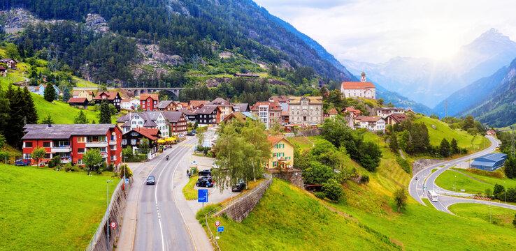Wassen village in a swiss Alps valley, Switzerland