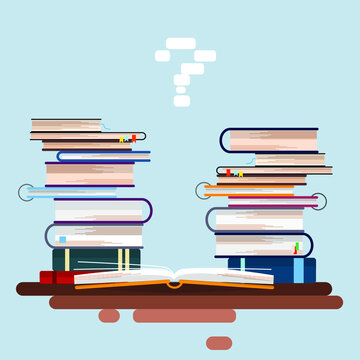 A stack of books and an open book in the foreground. Vector graphics