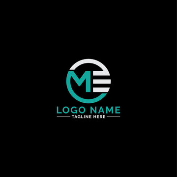 Modern Creative ME logo monogram. Typographic icon with letter M and letter E.