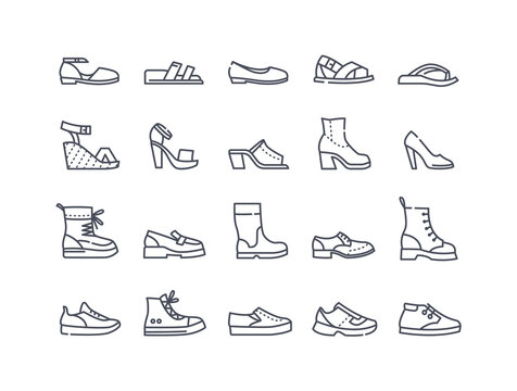 Shoes icon collection. High heels sandal, boots, hiking footwear, sneakers and others. Set of minimal style flat outline vector illustrations isolated on white background
