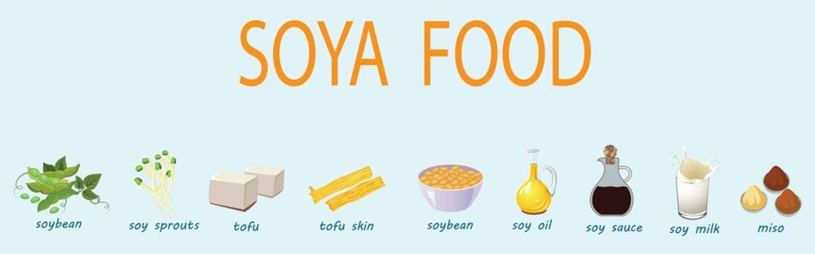 Set of cartoon soy food - milk, sauce, meat, tofu, miso and so. Vector illustration
