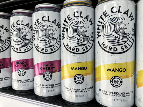Indianapolis - Circa February 2021: White Claw Hard Seltzer display. In 2019, White Claw accounted for over half of all total hard seltzer sales in the US.