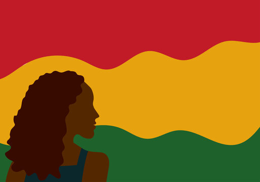 African American History or Black History Month. Black woman silhouette. Together African people Celebrate Black history month. Black women's history month.