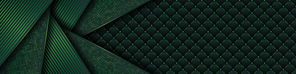 Obraz Luxury dark green background with backdrop overlap layer . Deep emerald pattern with vintage leather texture premium royal party - fototapety do salonu