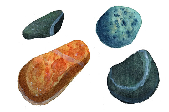 Watercolor sea pebbles set, postcard, blue, turquoise stones. Natural texture with paint splashes. Can be used for print, postcard. Hand drawn raster stock illustration in realism, traditional drawing