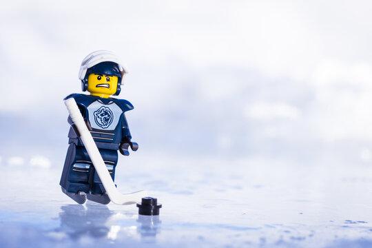 Lippstadt - Deutschland 17. Februar 2021 Lego Eishockey Spieler