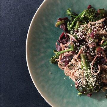 closeup of healthy soba noodle salad