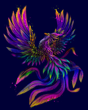 Phoenix. Abstract, Color, neon, digital drawing of the phoenix bird in watercolor style on a blue background. Vector graphics. Separate layers.