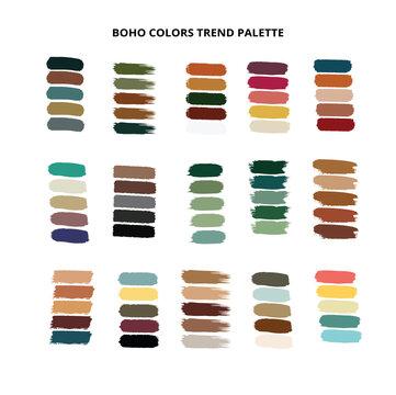 2021 Boho color trends palette on brush strokes. Vector stok illustration isolated on white background. EPS10