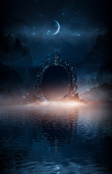Abstract night fantasy landscape with mountains, river bank. An island on the water, a magic mirror, the light of the moon, rocks. Night sky reflected in the water.