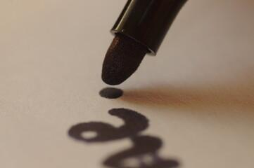 Fototapeta Grafologia i nauka pisania. Badanie pisma ręcznego. Pisanie piórem i długopisem. badanie podpisu dla sadu. Kryminalistyczne badanie pisma. obraz