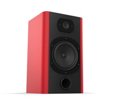Modern music speaker with matte red side panels
