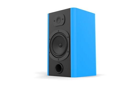 Modern music speaker with matte blue side panels