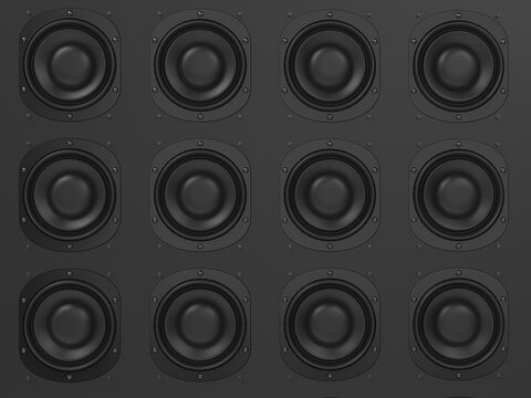 Wall of modern music speakers