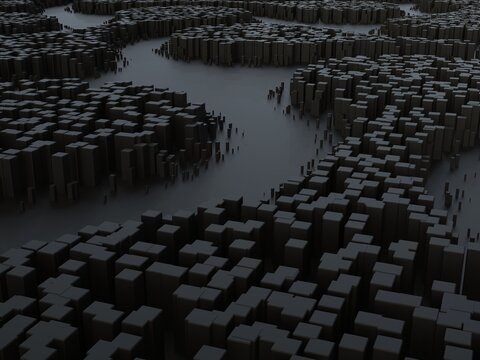 Unusual abstract landscapes - dark sci fi environment