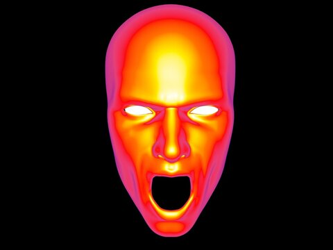 Uncanny screaming face - thermal view