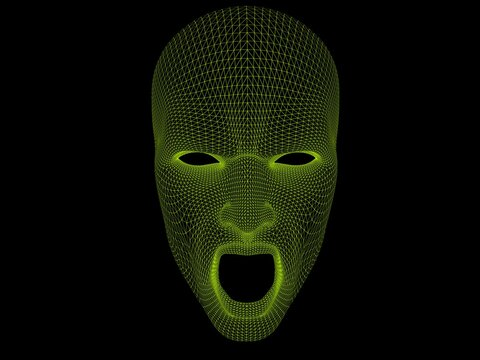 Uncanny screaming face - wireframe of a screaming face mask