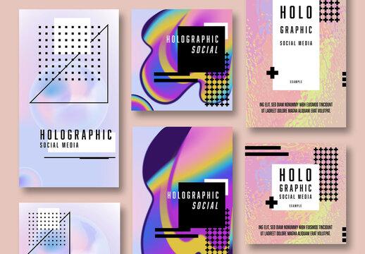 Holograph Social Media Post Pattern Backgrounds