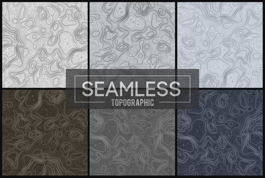 Seamless topographic maps set.Topo map with elevation. Contour map vector. Geographic World Topography map grid abstract vector illustration.