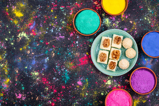 Traditional Indian dessert burfi for Holi