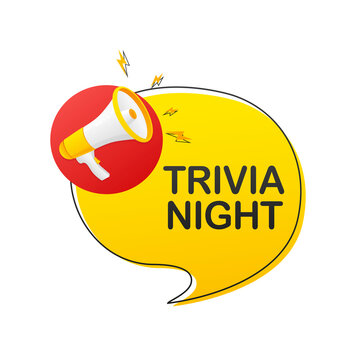 Trivia night megaphone on white background for flyer design. Vector illustration in flat style.