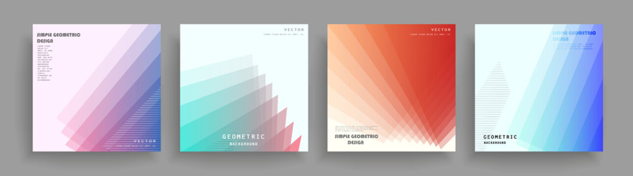 Abstract geometric pattern background for brochure cover design. Blue, yellow, red, orange, pink and green vector banner template