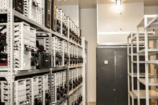 Machines mining bitcoin in data center