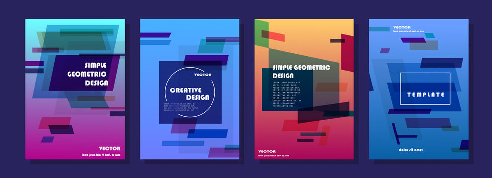 Covers with minimal designs. Abstract backgrounds. Vector frame for text Modern Art graphics for hipsters