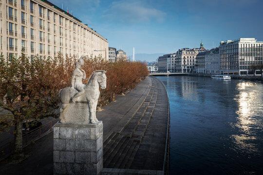 Rhone River and Aigle de Geneve Statue - Geneva, Switzerland