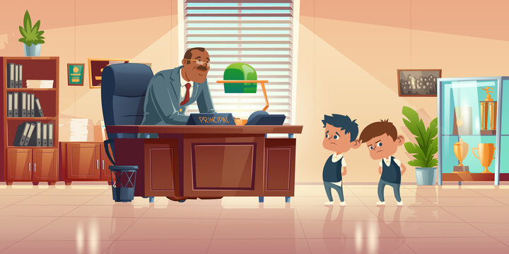 Teacher meeting with kids in principals office